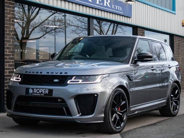 Land Rover Range Rover Sport 5.0 P575 V8 SVR Auto Estate Petrol Eiger Grey Metallic at fa Roper Ltd Bradford