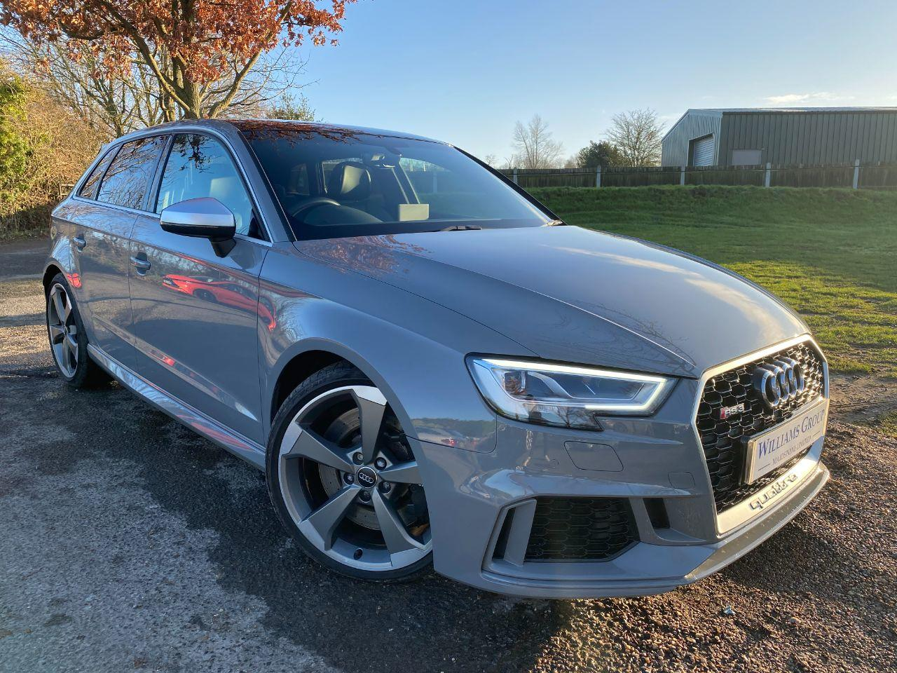 Audi RS3 2.5 TFSI RS 3 Quattro 5dr S Tronic (Pan Roof! 19in Rotors! +++) Hatchback Petrol Nardo Grey