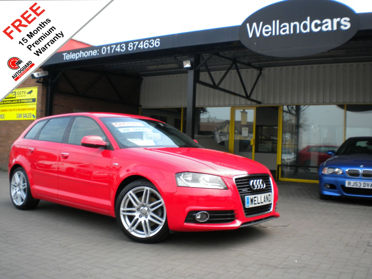 Audi A3 2.0 TDI 170 Quattro S Line 5dr Sportback, F/S/H,1Owner,Towpack,18`Alloys#15 MONTH WARRANTY INCLUDED Hatchback Diesel Bright Red at Welland Cars Shrewsbury