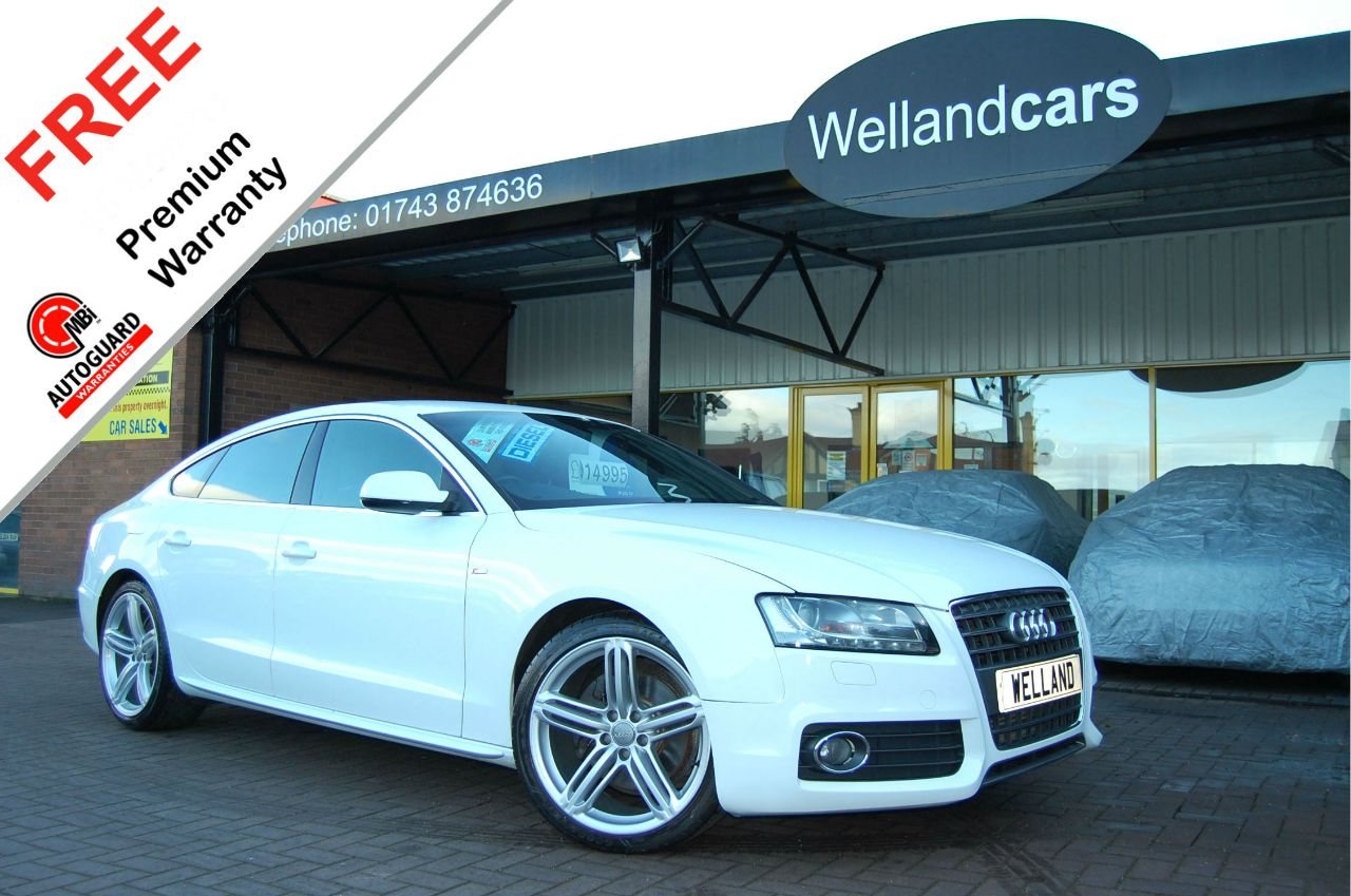 Audi A5 2.7 TDI S Line 5dr Multitronic/Paddle shift, F/S/H, 1 Owner, Leather # 6 MONTH WARRANTY INCLUDED Hatchback Diesel Ibis White at Welland Cars Shrewsbury