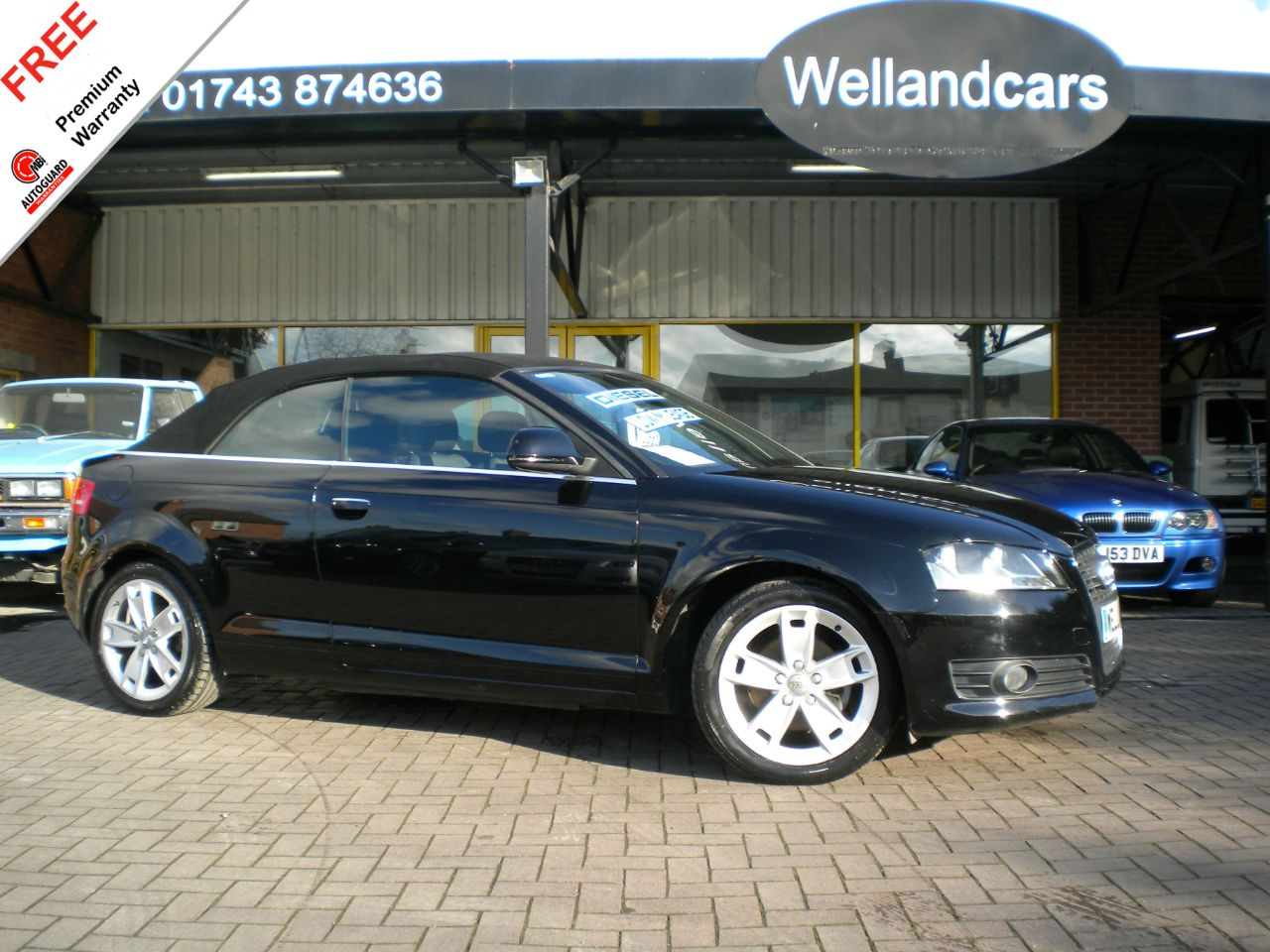 Audi A3 2.0 TDI Sport 2dr  Low Mileage, 1 Former Keeper, F/S/H # 6 MONTHS PARTS AND LABOUR WARRANTY# Convertible Diesel Black at Welland Cars Shrewsbury