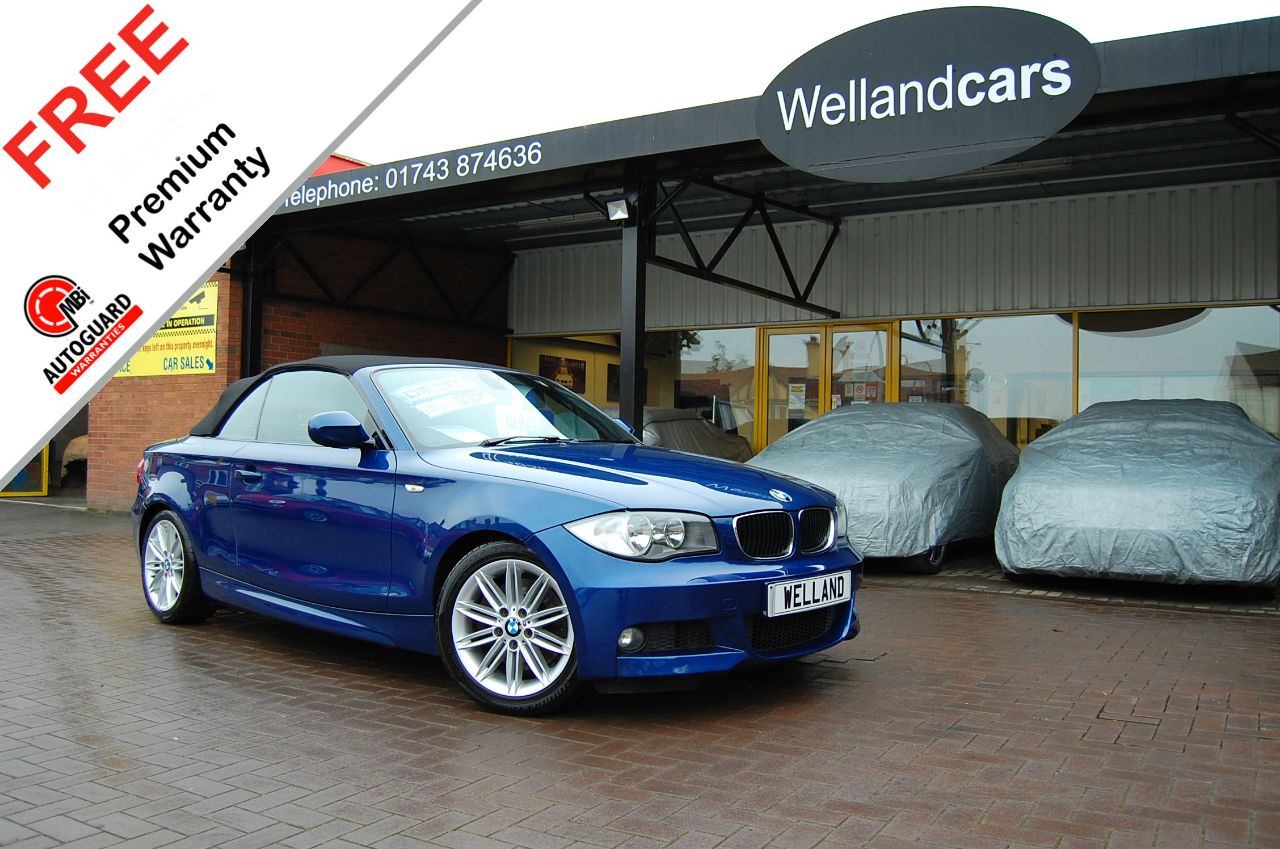 BMW 1 Series 2.0 123d Bi-Turbo M Sport 2dr F/S/H, 1 Owner From New, Motorway Miles  # 6 MONTH WARRANTY INCLUDED Convertible Diesel Le Mans Blue at Welland Cars Shrewsbury