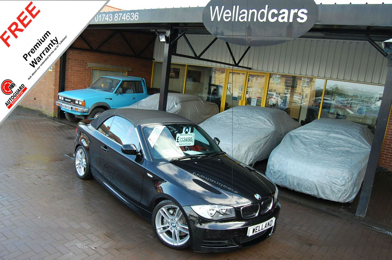 BMW 1 Series 3.0 135i M Sport 2dr, F/BMW/S/H, 1 Owner, Leather, B/Tooth # 6 MONTH PREMIUM WARRANTY INCLUDED Convertible Petrol Metallic Black at Welland Cars Shrewsbury