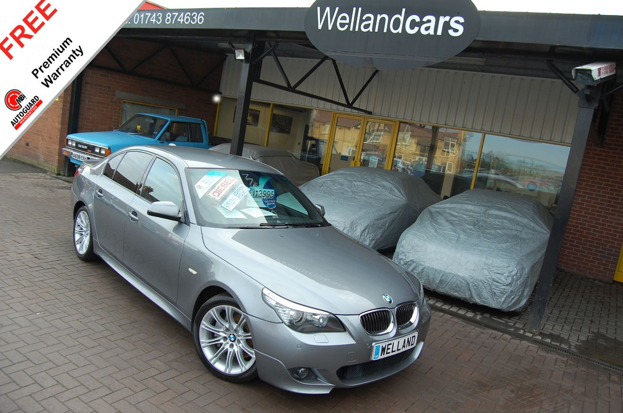 BMW 5 Series 3.0 535d M Sport Twin Turbo Auto,FBMW/S/H,2 Owners,Nav,Lane Assist,Leather # 6 MONTH WARRANTY INCLUDED Saloon Diesel Gun Metal Grey Metallic at Welland Cars Shrewsbury