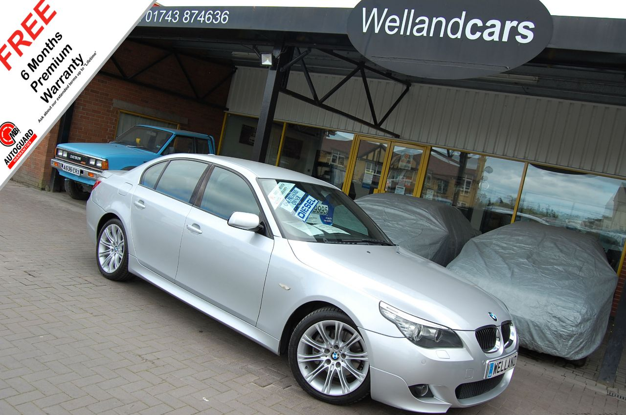 BMW 5 Series 3.0 530d M Sport 4dr Step Auto,Full BMW S/H,1 Owner,Sat Nav,Leather,B/Tooth # 6 MONTH WARRANTY INCLUDED Saloon Diesel Metallic Silver at Welland Cars Shrewsbury