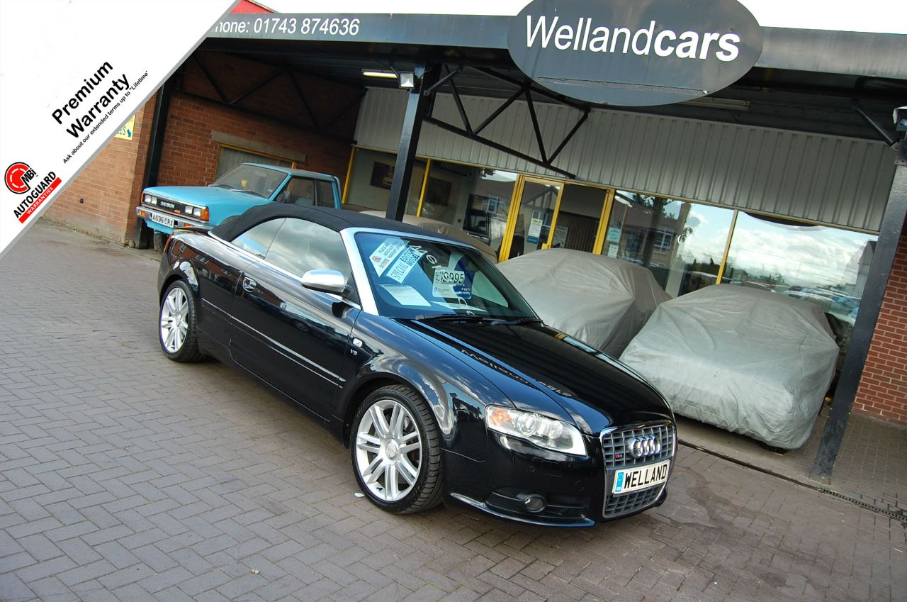 Audi S4 V8 4.2 Quattro 2dr Tip Auto, F/S/H, Over £6K of extras,Nav,Bluetooth,Premium Leather and More. Convertible Petrol Pearl Effect Metallic Black at Welland Cars Shrewsbury