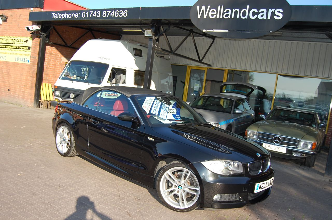 BMW 1 Series 2.0 BMW 118i M Sport Convertible 1 Lady Owner Full BMW Service History ONLY 29,000 Miles Red Leather Convertible Petrol Black at Welland Cars Shrewsbury