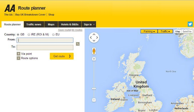 Aa Classic Car Route Finder