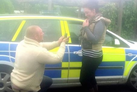 Police car wedding proposal