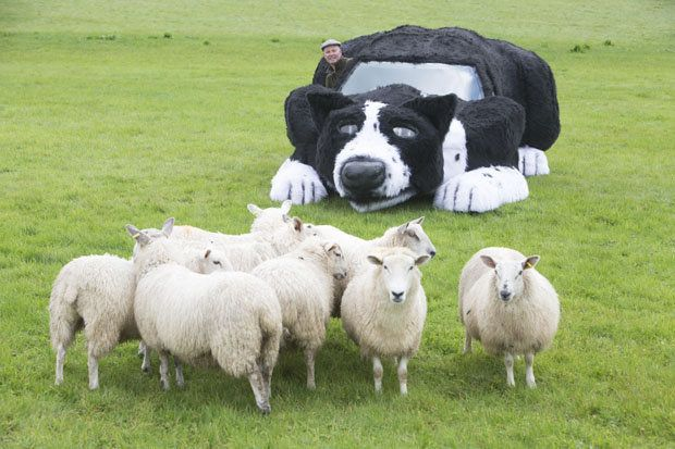 Farmer Dave Isaac's sheepdog car