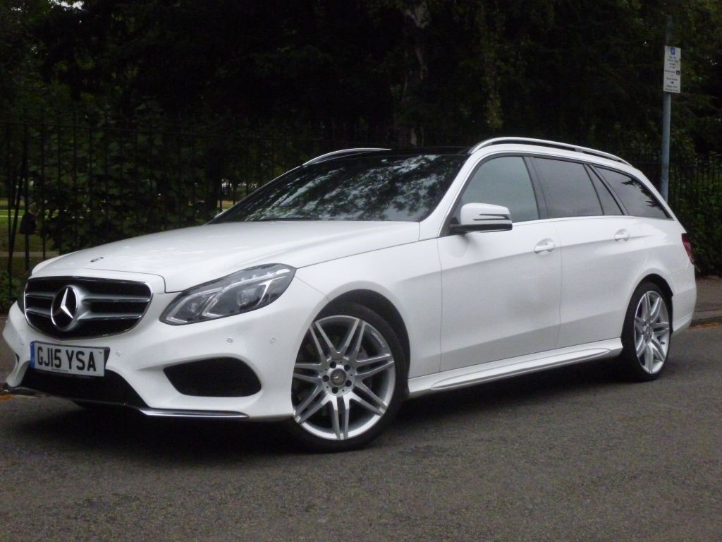 Mercedes-Benz E Class 3.0 BLUETEC AMG LINE Estate Diesel Polar White with Black leather